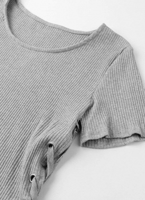 Sexy Women Knitted Sweater Cross Lace Up Bandage High-Low Hem Slim Tops Tee Pullover Knitwear_6