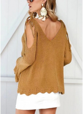 Women Knitted Sweater V Neck Cold Shoulder Flare Sleeve Spaghetti Straps Streetwear_5
