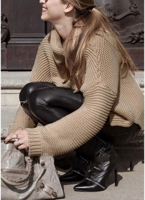 Women Loose High-Neck Long Sleeve Solid Warm Turtleneck Knitted Sweater_3