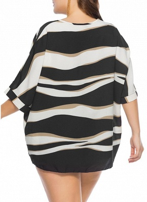 Women Plus Size Loose Blouse Striped Half Sleeves O-Neck Elegant Top Pullover_3