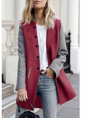 Women Winter Color Splice Long Sleeves Side Pockets Buttons Outerwear Coat_1