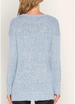 Knitted Sweaters Drop Shoulder O Neck Ribbed Knitting Women's Pullover_4
