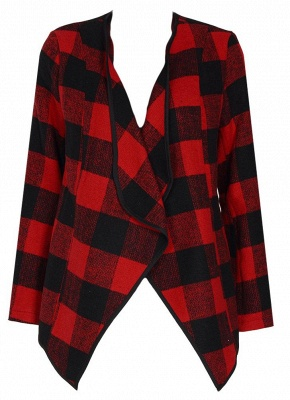 Fashion Women Long Sleeve Plaid Lapel Collar Casual Irregular Jacket_6