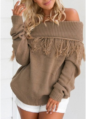 Women Off The Shoulder Tassels Ribbed Long Sleeve Knitted Sweater_1
