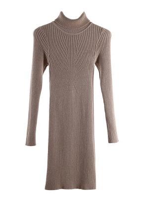 Winter Slim Turtleneck Bodycon Women's Sweater Dress_1