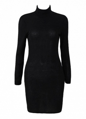 Women Knit Dress Mini Sweater Dress Turtleneck Long Sleeve Solid Bodycon Casual Party Pullover Pencil Dress_2