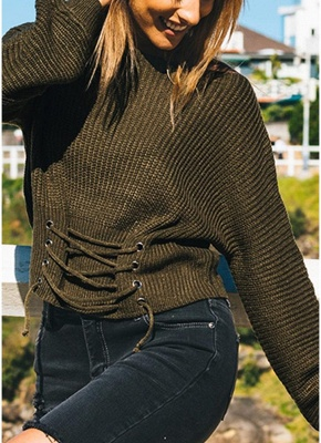 Sexy Off Shoulder Sweater Slash Neck Lace-Up Bandage Women's Pullover_11
