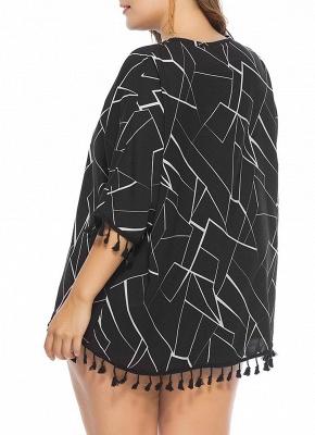 Women Plus Size Blouse Contrast Irregular Geometric Patterns Print Fringe Long Tops_3