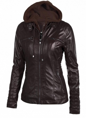 Faux Leather Hooded Zippered Short Slim Motorcycle Jacket_2