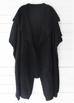 Women Loose Sweater Cardigan Open Front Batwing Sleeve Solid Split Knitted Outerwear_7