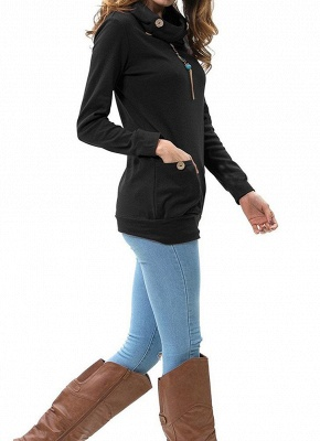 Women Sweatshirts Turtle Neck Pockets Pullover Long Loose Blouse Outwear Tops_7