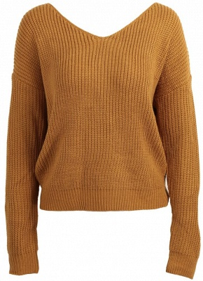 Women Loose Knitted Pullovers V Neck Back Bow Long Sleeves Dropped Shoulder Cross Casual Knit Jumper Top_6