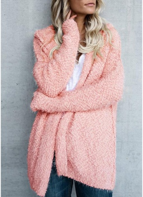 Fashion Women Fleece Hooded Cardigan Open Front Long Sleeve Solid Warm Hoodie Outerwear Loose Sweater Coat_2