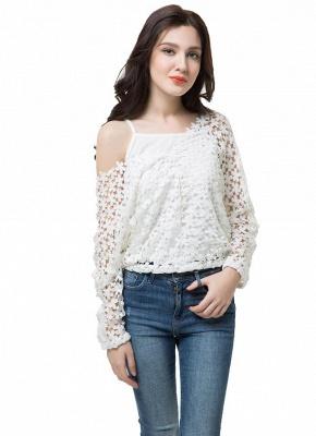 Chic Crochet Lace V-Neck Long Sleeve White Blouse with Vest_7