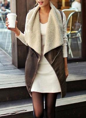 Suede Faux Fur Lapel Fleece Long Waistcoat_1