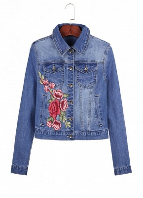Embroidered Flower Turn-Down Collar Long Sleeve Denim Jacket_6