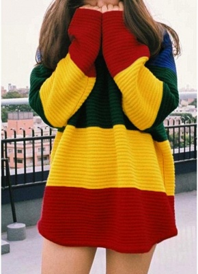 yellow Rainbow Color Block Crew Neck Sweater_1