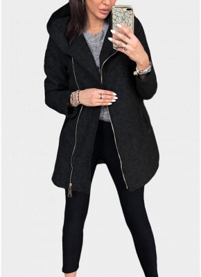 Women Casual Zip Up Hoodie Long Sleeves Pockets Sweatshirt Coat_2