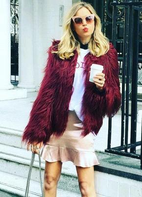 Faux Fur Coat Long Sleeve Fluffy Outerwear Short Jacket Hairy Warm Overcoat_5