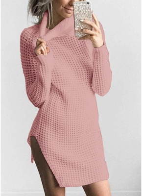 Women Casual Winter Solid Knitted Sweater Dress_2