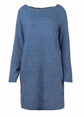 Women Loose Knit Sweater Dress Long Sleeves Pockets Party Mini Straight Dress_8