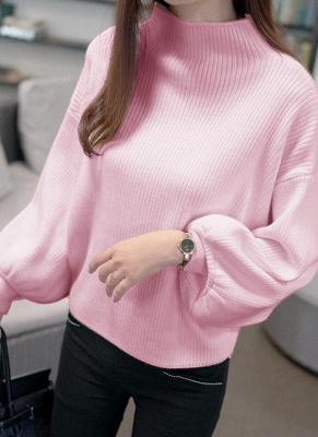 Women High Neck Bat Lantern Sleeve Knitted Sweater_1