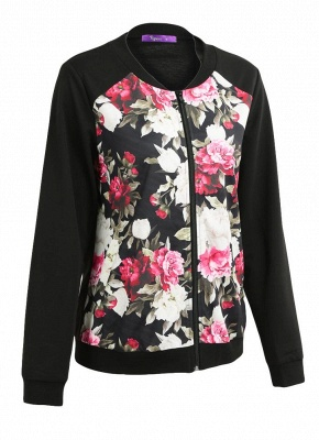 Fashion Women Floral Print Jacket Coat Zipper Long Sleeve Pocket Bomber Jacket_3