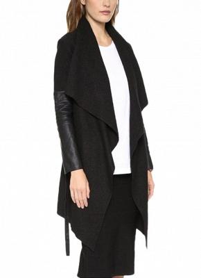 Autumn Winter Women Jacket Coat Large Lapel PU Leather Splice Overcoat Long Sleeve Casual Outerwear Black_3