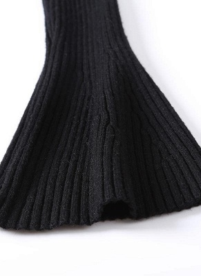 Fashion Winter Women Ribbed Flare Sleeves Stand Collar Women's Sweater_6