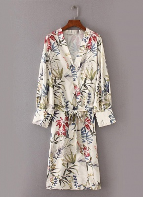 Women Flower Print Sash Kimono Shirt Retro Bandage Cardigan Blouse Top_5