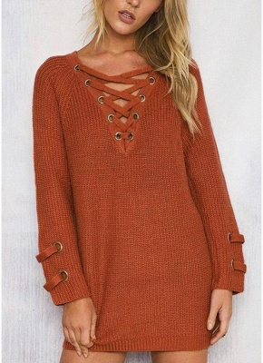 Neck Striped Bandage Cross Ties Knitted Sweater_2