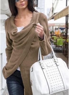 Knitwear Solid Color Asymmetric Long Roll Up Sleeve Women's Sweatershit_4