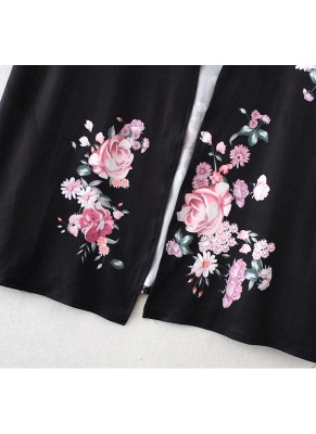Fashion Long Cardigan Front Floral Print Long Sleeves Women's Outerwear_9