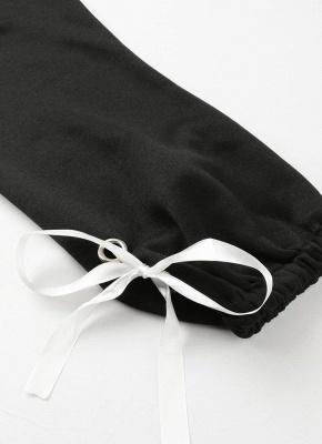 Women Loose Fleece Lace Up Bandage Cuff Round Neck Long Sleeve Casual Sweatershirt_6