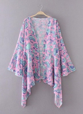 Bohemian Floral Print Chiffon Long Kimono Beach Cover Up_3