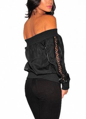 Women Off the Shoulder Satin Jacket Zipper Front Eyelet Hollow Out Coat_3
