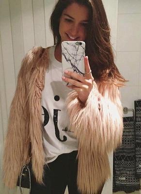 Faux Fur Coat Long Sleeve Fluffy Outerwear Short Jacket Hairy Warm Overcoat_6