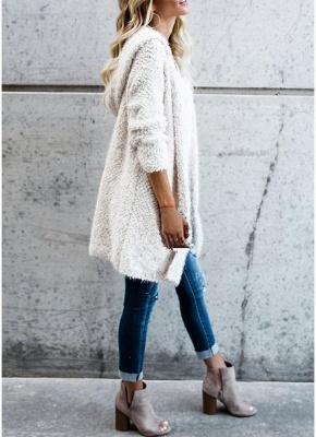Fashion Women Fleece Hooded Cardigan Open Front Long Sleeve Solid Warm Hoodie Outerwear Loose Sweater Coat_7