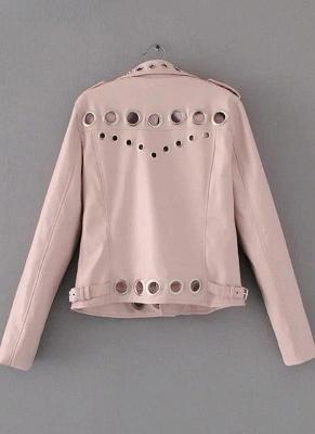 Fashion Hollow Out Leather Slim Hole Short Coat Women's Jacket_10