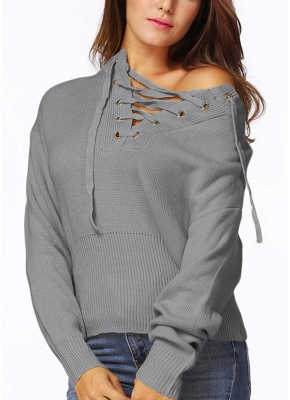 Lace-Up Knit Sweater V Neck Long Sleeves Ribbed Cuffs Hem Women's Pullover_5