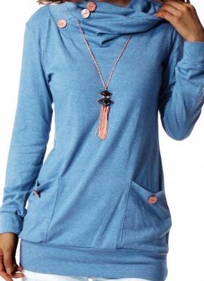 Women Sweatshirts Turtle Neck Pockets Pullover Long Loose Blouse Outwear Tops_2