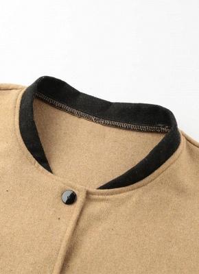 Women Winter Color Splice Long Sleeves Side Pockets Buttons Outerwear Coat_8