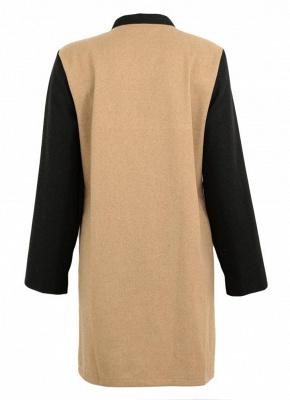 Women Winter Color Splice Long Sleeves Side Pockets Buttons Outerwear Coat_7