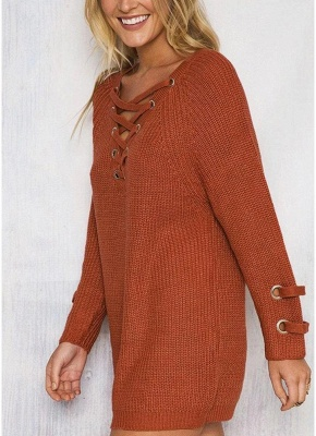 Neck Striped Bandage Cross Ties Knitted Sweater_5