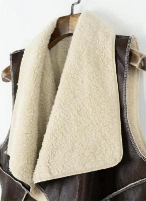 Suede Faux Fur Lapel Fleece Long Waistcoat_5