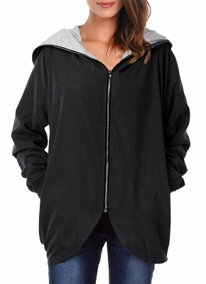 Autumn Winter Hoodies Zip Up Long Sleeve Plus Size Loose Women's Jacket_1