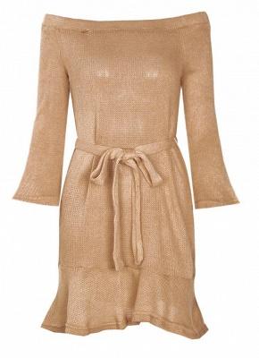 Shoulder Elegant Ruffle Sash Long Sleeve Women's Sweater Dress_6