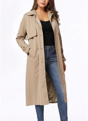 Women Winter Lined Turn-down Collar Double-breasted Button Closure Windbreaker Coat_5