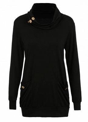 Women Sweatshirts Turtle Neck Pockets Pullover Long Loose Blouse Outwear Tops_8
