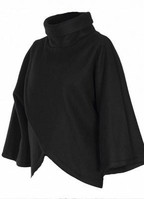 Loose Sweatshirt Solid Turtleneck Irregular Three Quarter Casual Warm Pullover_6